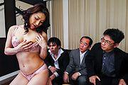 Big tits hottie enjoys group sex at work Photo 4