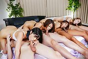 Hairy Japanese pussy fucked in group scenes  Photo 10