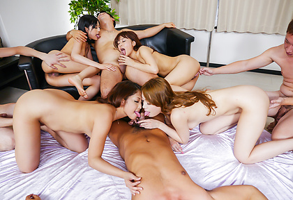Smasing Asian gangbang along horny Japanese babes