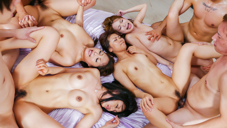 Girls with Sexy Asian boobs exposed fucking in group