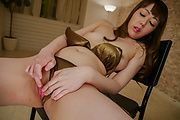 Pinching her hot Asian tits while riding the dildo  Photo 6