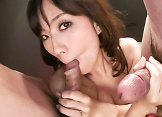 MILF Manami Komukai Sucks Two Dicks For Cum