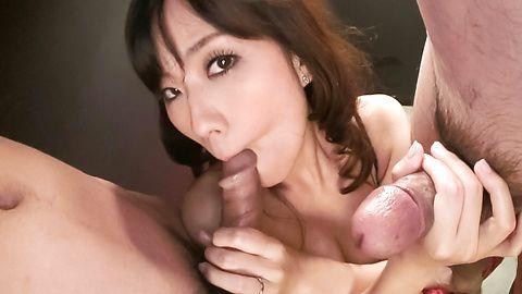 MILF Manami Komukai Sucks Two...