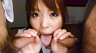 Schoolgirl Moe Sakura gives an asian blow job