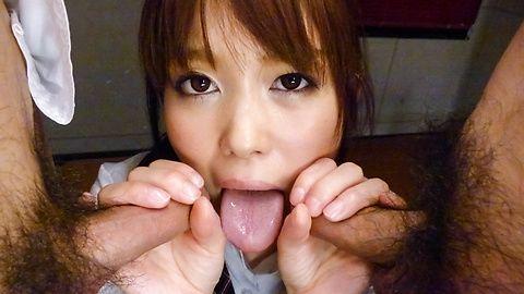 Schoolgirl Moe Sakura gives an...