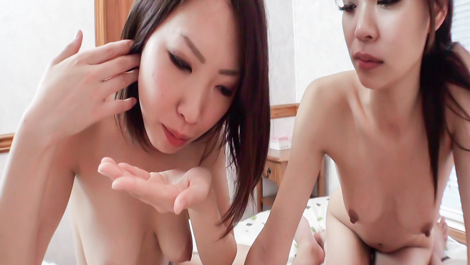 Akubi and Asami sharing cock in amateur porn show