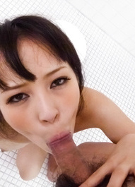 Kyouko Maki Asian licks and sucks boner and takes it between tits