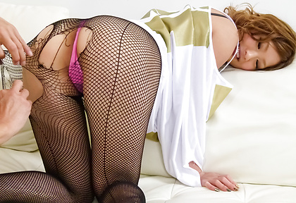 Aika gets her stockings  off for hard sex