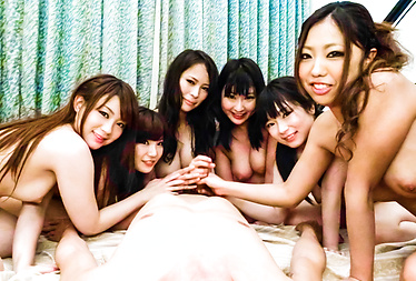 Three horny chicks give an asian pov blowjob