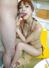 Misa Kikouden Asian cutie licks and sucks balls and rubs penis