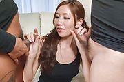 Asian blowjob on two dicks by naughtyKaori Maeda Photo 3