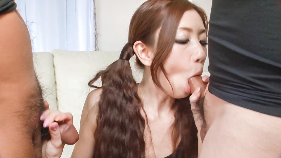 Asian blowjob on two dicks by naughtyKaori Maeda