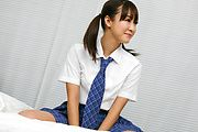 Schoolgirl Momoka Rin gives an asian blowjob in pigtails Photo 6