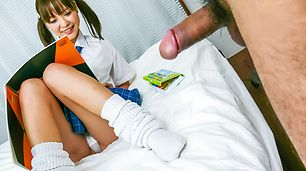 Horny teen Momoka Rin gives a japan blowjob