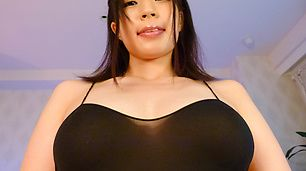 Hot Asian lingerie model provides amazing solo