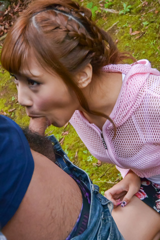 Outdoor Japanese POV oral with kinky Anna Anjo  Photo 1