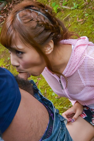 Outdoor Japanese POV oral with kinky Anna Anjo  Photo 2