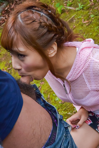 Outdoor Japanese POV oral with kinky Anna Anjo  Photo 3