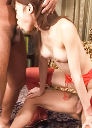 Ibuki Asian doll gets hard phallus and man feet under red thong