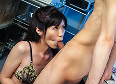 SLim Sara Yurikawa provides amazing Asian blowjobs