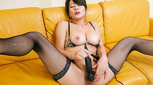 Japanese milf blows cock and swallows in the end