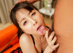 Ayumi Iwasa cumming hard in lingerie and gives a japanese blowjob