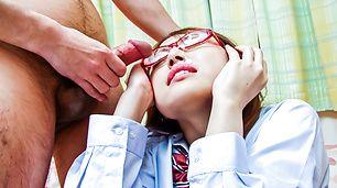 Schoolgirl Rino Mizusawa In Glasses Sucks Three Guys