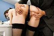 Maki Hojo takes a creampie while in black stockings Photo 7