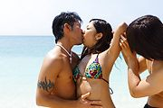Yui Nanase has asian group sex on the beach  Photo 1