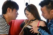 Japanese group sex with obedient Maki Horiguchi Photo 1
