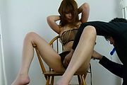 Rika Aiba gives asian blow jobs in see thru lingerie Photo 9
