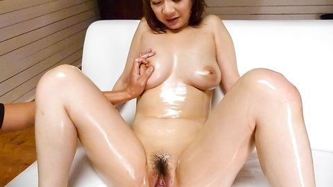 Arisa Araki oiled up and fucked...