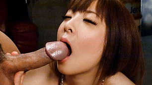 Marin Omi gets a creampie in her hairy pussy