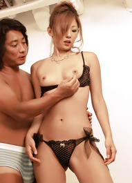 Erena Kurosawa Asian in stockings has cunt fingered from behind