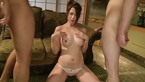 Girl with superb Asian tits sucks two cocks in the same time