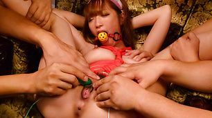 Sana Anzyu gives an asian blowjob to many while in bondage