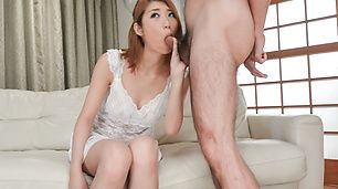 Kanako Kimura opens up her mouth for an asian blowjob threesome