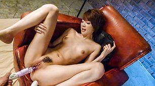 Babe with hairy Asian cunt plays with several cocks