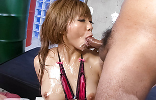 Oiled up Asian pervert giving blow...