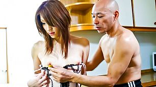 Nana Kinoshita takes her lingerie off to be toy fucked