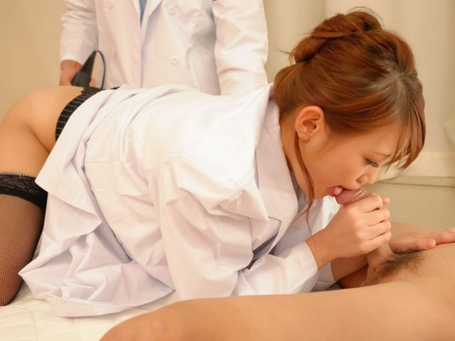 Wild and horny nurse giving blow job and screwed