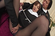 Two Guys Double Fuck MILF Nun Hitomi Kanou Photo 10