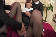 Two Guys Double Fuck MILF Nun Hitomi Kanou Photo 11
