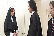 Two Guys Double Fuck MILF Nun Hitomi Kanou Photo 1