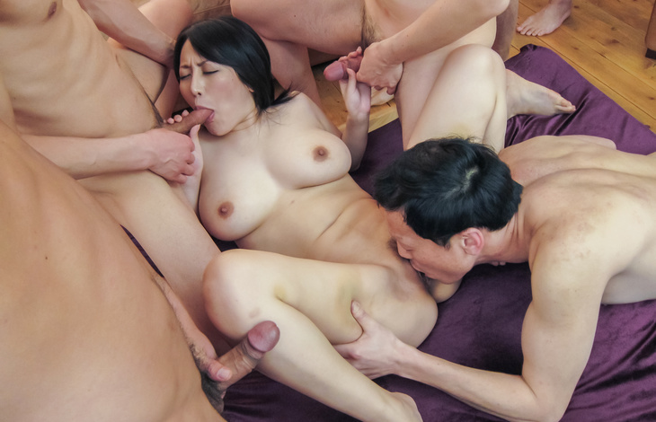 Busty Yuuna Hoshisaki gives an asian blow job and fucks a gang asian babes, asian boobs, japanese pussy