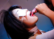 Bandaged Azumi Harusaki in rough mouthfuck & deep throat