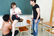 Hot schoolgirl fucking like crazy with her teachers Photo 11