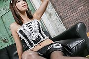 Momoka Rin fucked in a maid costume with japanese stockings Photo 2