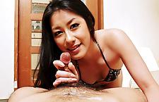 Ishiguro Kyok gives a foot and mouth job to a flesh tool