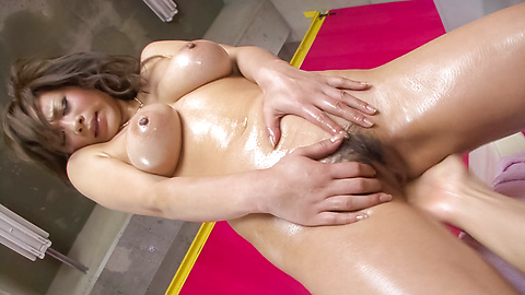 A creampie for Ren Mizumori's hairy asian pussy